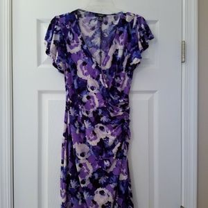 Nice Chaps Faux Wrap Rouched Dress